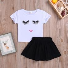 BY024A kids toddler little <strong>girl</strong> summer tutu <strong>dresses</strong> black skirt white eyelash t-shirt <strong>dresses</strong> set