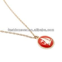 Hot Trend Nautical Coral Enamel Gold tone Sailboat Accent Round Pendant Necklace