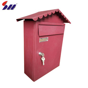 Pretty Garden Decor Free Standing House Shape Stainless Steel Mailboxes