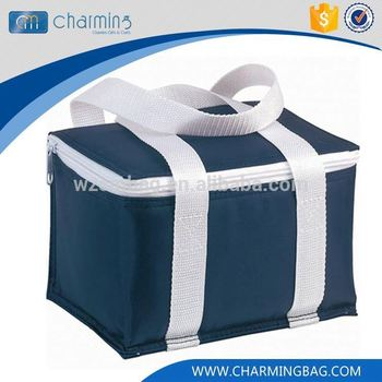 Best selling trendy style promotional dark blue zipper tote insulated lunch cooler bag
