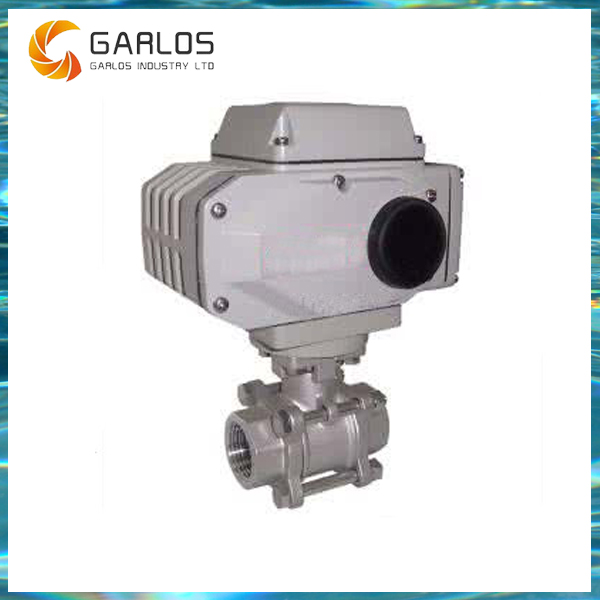 Q961F Stainless steel 3pc electric actuator internal thread ball valve