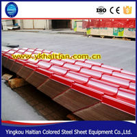 Hot sale Metal Building Materials Colored roofing tile/PPGI sheets tile/ red 828 Trapezoid Metal Roof tile