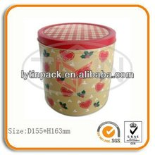 Beautiful flower round tank tin box for gift promotion