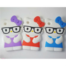 cute cartoon soft silicone 3d hello kitty with glasses case for ipod touch 4 rubber cover