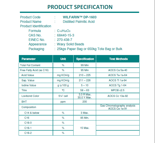 palmitic acid C16 feed grade