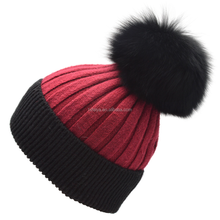 Classical Colored Knitted Hats for Women Large Fox Fur Pompom Wool Beanies