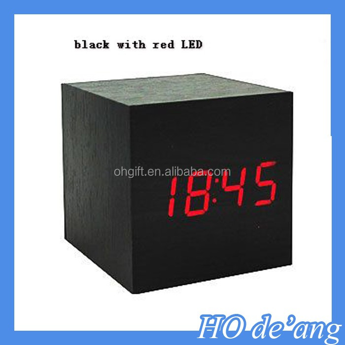 HOGIFT Hot selling cube digital led wooden Desk clocks with alarm