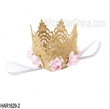 New design fashion gold birthday girls boy baby flower Lace Crown Birthday Crown Princess Crown