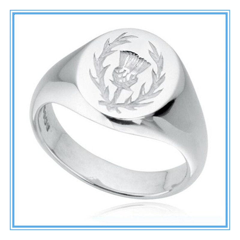Yiwu Meise Stainless Steel Scottish Thistle Hallmarked Signet Ring