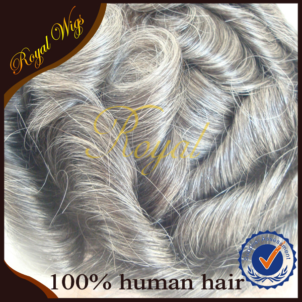 High Quality Human Hair With Grey Hair Toupee For Men