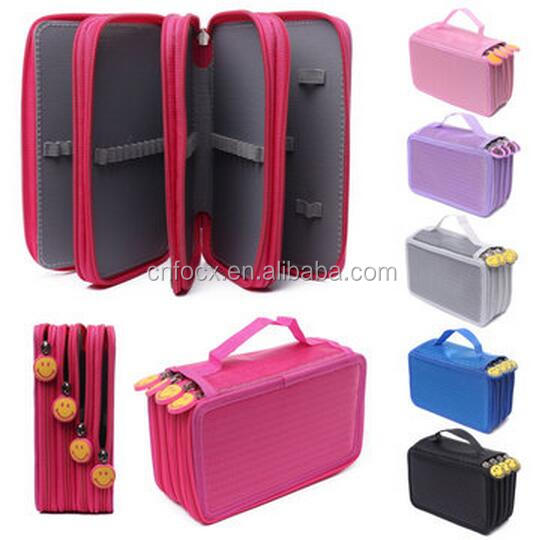 72 Holes 4 Layers Pen Pencil Case / Travel Cosmetic Brush Makeup Storage Bag / Stationary Pouch Bag