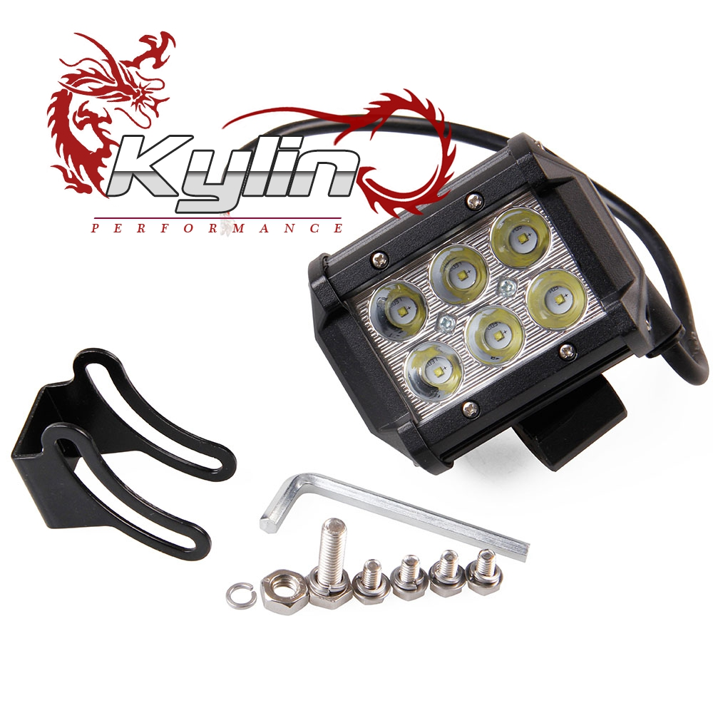 Kylin racing 18W LED Light Bar 4WD Flood Beam Offroad Driving Fog JEEP UTE SUV