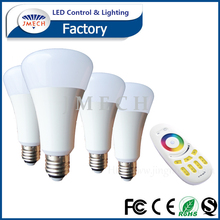 Manufacture E27 9w Dimmable Energy Saving rgbw Light Bulb with remote control