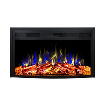"26"" Curved Pane Antiquel Decor Flame Electric Fireplace Heater Insert"