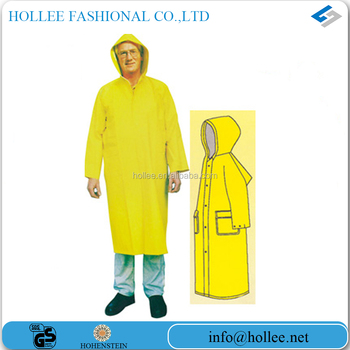 yellow pvc/polyester high quality raincoat