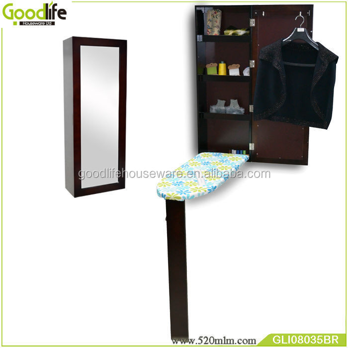 Wooden foldable ironing table with waterproof fabric