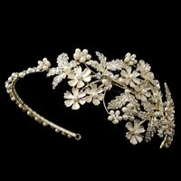 Light Gold Champagne Rhinestone & Ivory Pearl Floral Side Headband
