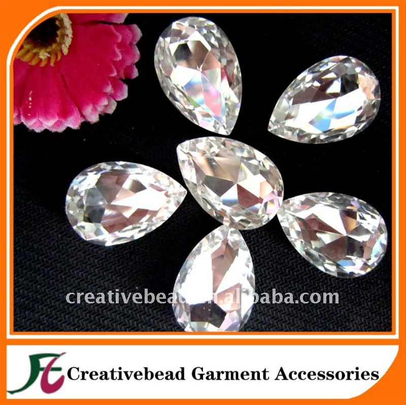 Clear crystal transparent mirror surface glass beads tear drop shape bulk wholesale