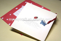 square cute message greeting cards with strap