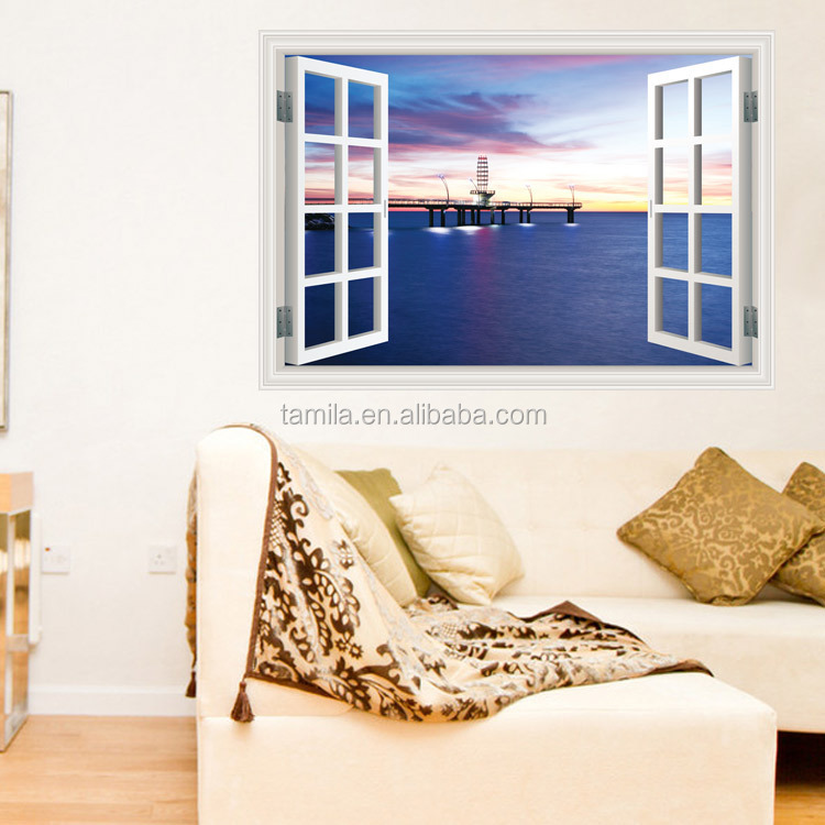 3D window wall stickers Beach Ocean custom wall sticker for living room