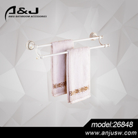 2016 Hot Selling Bathroom brass chrome plated brass double towel bar