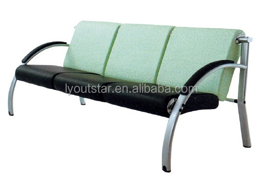 Customized reception stainless steel three seater sofa set