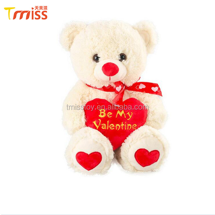 Custom Valentine's Day gift lovely stuffed teddy bear with red heart