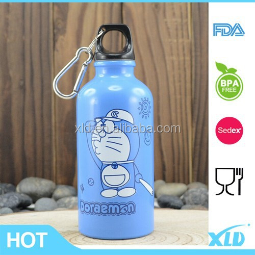 Doraemon painted in blue color with 350ml capacity single wall stainless steel sport bottle