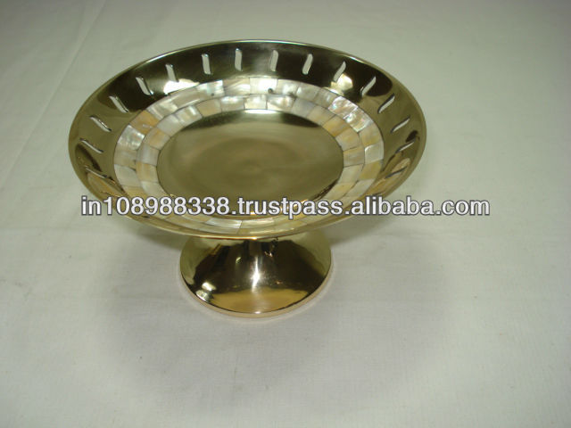 Polished Brass bowl with mother of pearl
