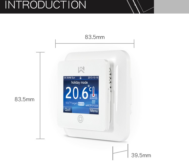 White color digital programmable touch screen floor heating thermostat