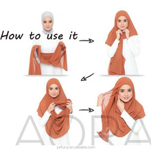 Two Face Jersey Instant Shawl Full Cover Slip On Muslim Scarf Easy To Wear Long Wraps Scarves