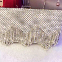 2015 New Style Satin Diamond Tassel Pearl Ladies clutch bag Guangzhou
