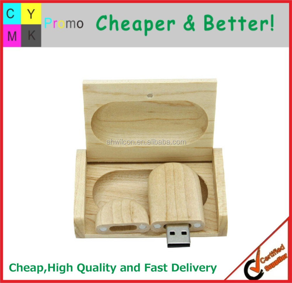 2016 Customized logo Printed Promotional wood usb flash with box