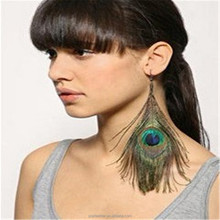 PM-019 New design fashion cute lady peacock feather earrings