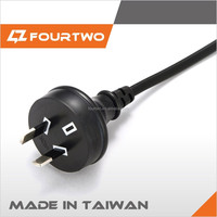 Black Australia New Zealand 2 pin plug insulated SAA Power Cable