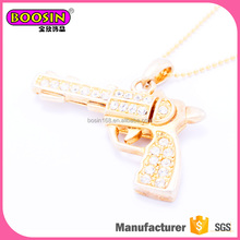 fashion luxury Gold plated cool gun stones wholesale pendant necklace
