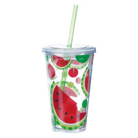 16OZ new style double wall starbucks tumbler with straw paper insert