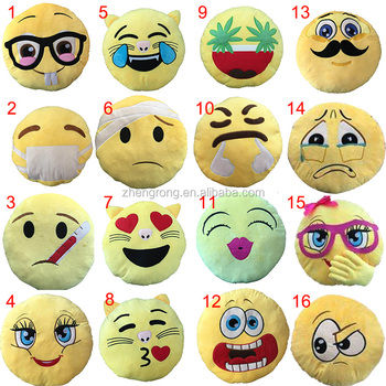 wholesale sew plush emoji cushions stuffed toys, custom whatsapp emoji pillow