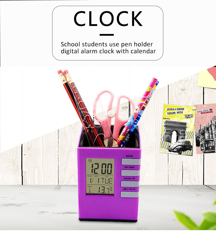 Plastic calendar pen holder with digital clock