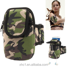 Camouflage Pattern Thicken Nylon Fabric Double Layers Sports Armband Case for Samsung Galaxy S IV mini / i9190/i8190