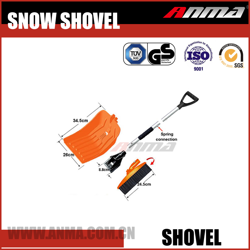 Multi function garden car plastic snow shovel aluminum telescopic folding handle heated snow shovel with brush