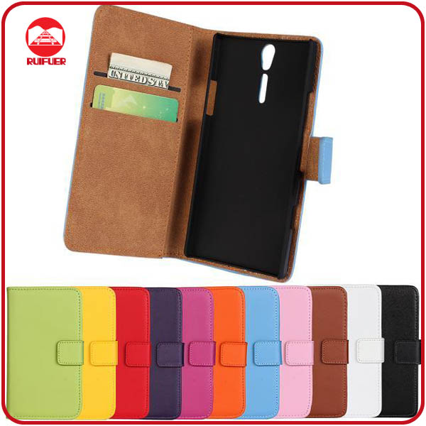 RF Manufacturer Folio Style With Card Slots Pouch Stand Wallet Leather Flip Cover for Sony Xperia S Lt26i Case