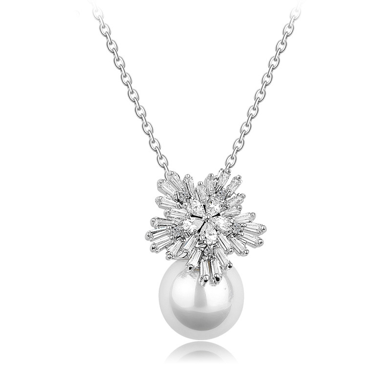 Elegant Wedding Jewelry Women's Platinum Plated Silver Zirconia Snowflake and Simulated Shell Pearl Necklaces Pendants