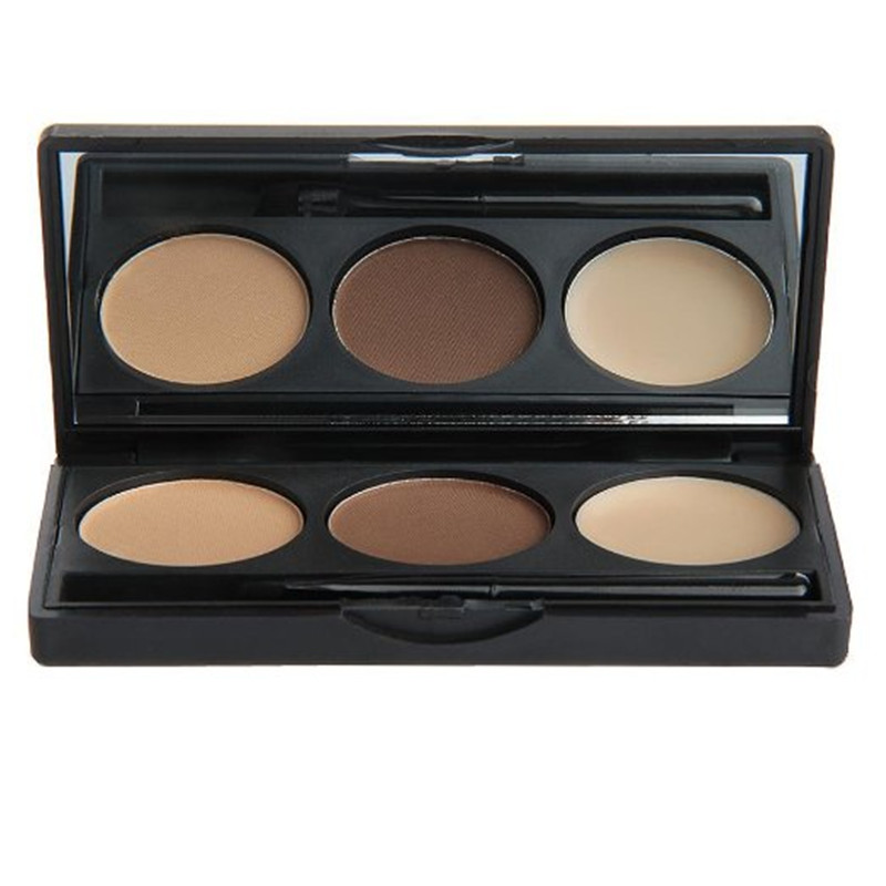 natural brown /grey color Eyebrow Cake Powder, Dark Brown/Brown with mirror and brush