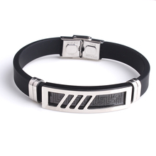 Stainless Steel Genuine Gold Men silicone rubber Bracelet Mens Nappa Leather Bracelet