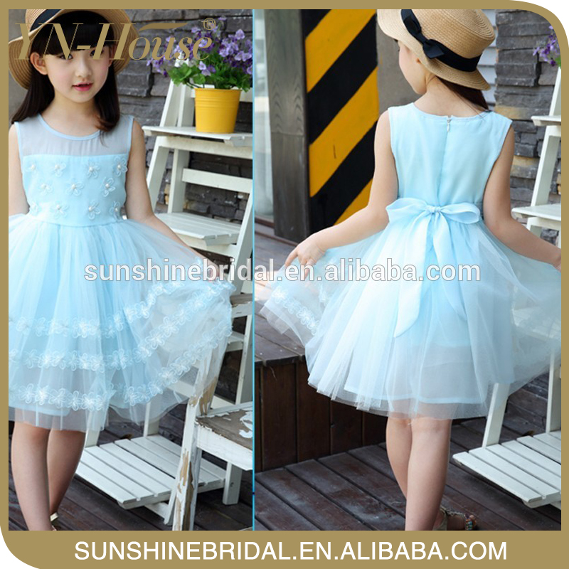 High-quality The latest kids net design party dress