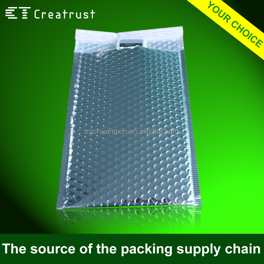 Shock Resistance Customized Printed Metallic Bubble Mailers Silver jiffy Bags
