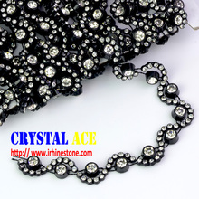 Black base crystal rhinestone trim, moon shape rhinestone trim factory