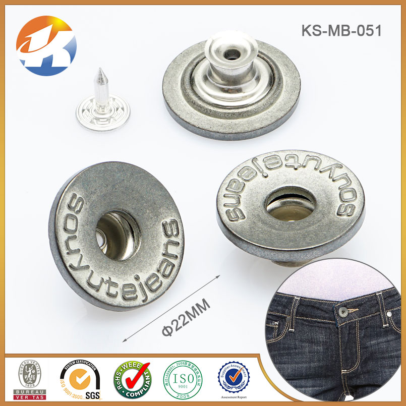 Garment Accessories Metal Jean Button with Customized Logo Embossed