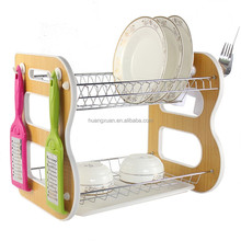 Multifuction Two Tier Wooden Dish Rack